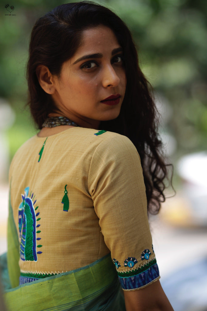 Anar Yellow Handloom Cotton KalaGhoda Blouse