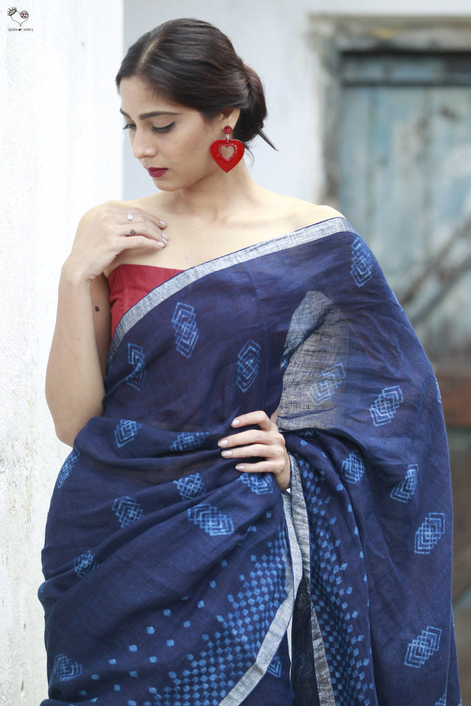 The QoH Right Angle Saree 2 Iindigo Blue