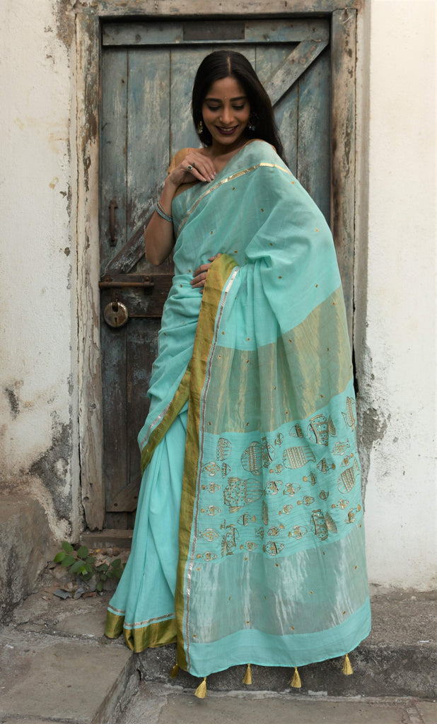 The Metallic Collection – Fish Saree - Aquamarine Blue
