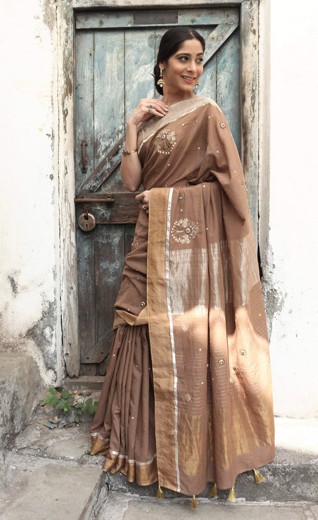 The Metallic Collection – Gandaberunda Saree - Brown