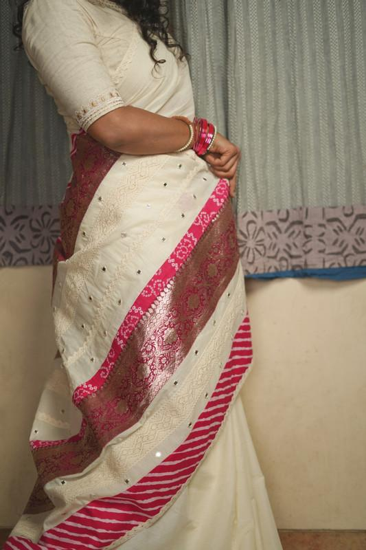 The Nurjehan Saree - Kora Cream unbleached cotton/Hot pink.