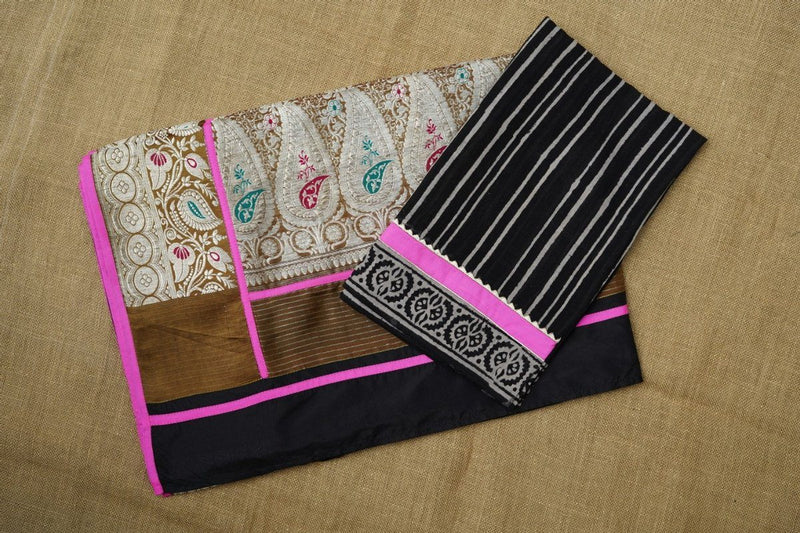 The Nurjehan Saree - Black/Caramel brown/Pink