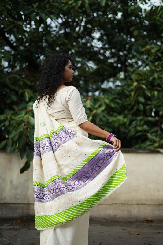 The Nurjehan Saree - Kora Cream unbleached cotton/Parrot green.