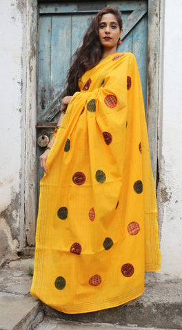 Sunflower Yellow Orange Handloom Cotton Circles Saree