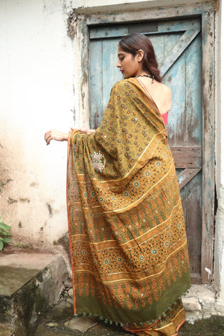 Ajrakh Nath Saree Chutney Green (Handloom Cotton)