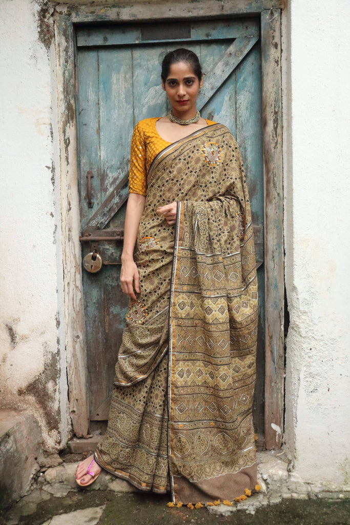 Ajrakh Nath Saree Anar Yellow (Handloom Cotton)