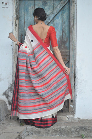 Deck of Cards Cotton Saree Cream Red Black