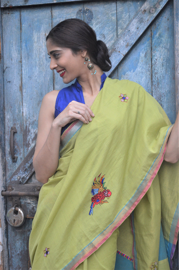 Lime Green Handloom Cotton Bird Saree