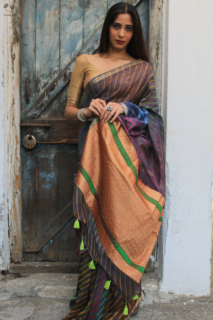 The Navrang Saree - Tie Dye Leheriya (Cool Grey)