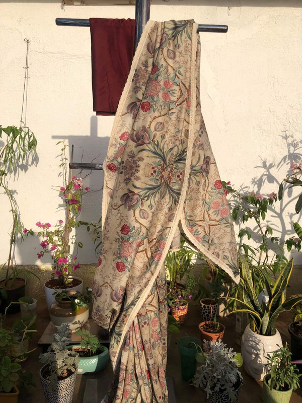 Easy Breezy Summer Saree - Frost Cream