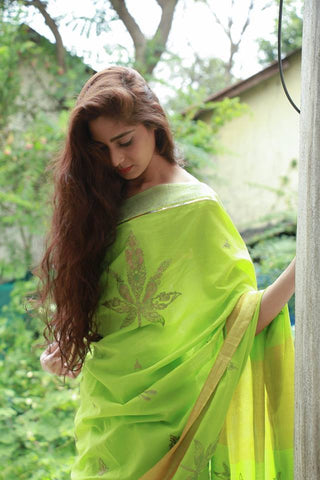 The Metallic Collection – Leaf Saree - Lime Green