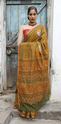 Ajrakh Nath Saree 1 Chutney Green (Handloom Cotton)