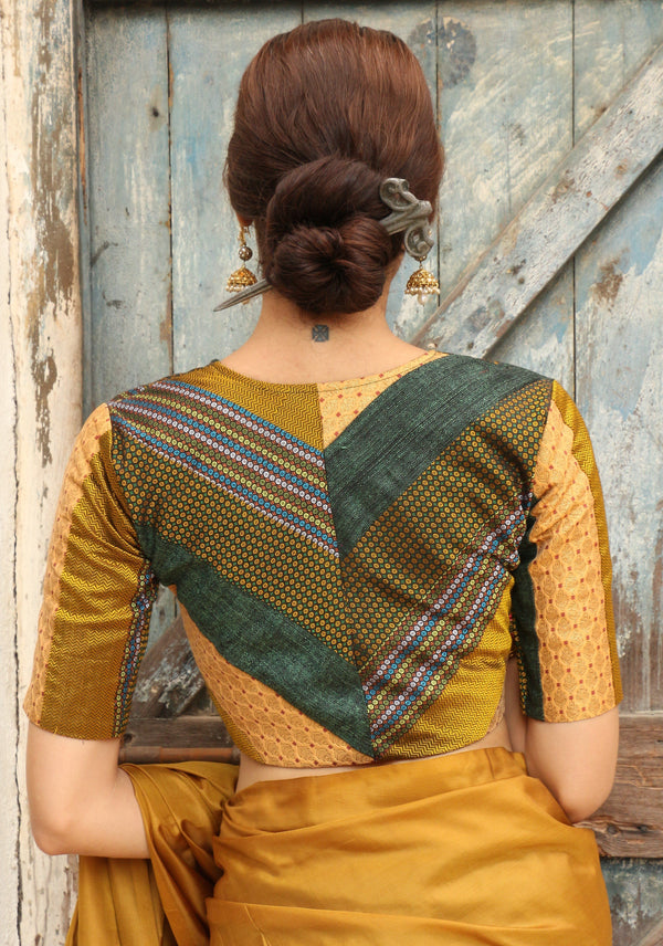Green Yellow Vee Patchwork Blouse