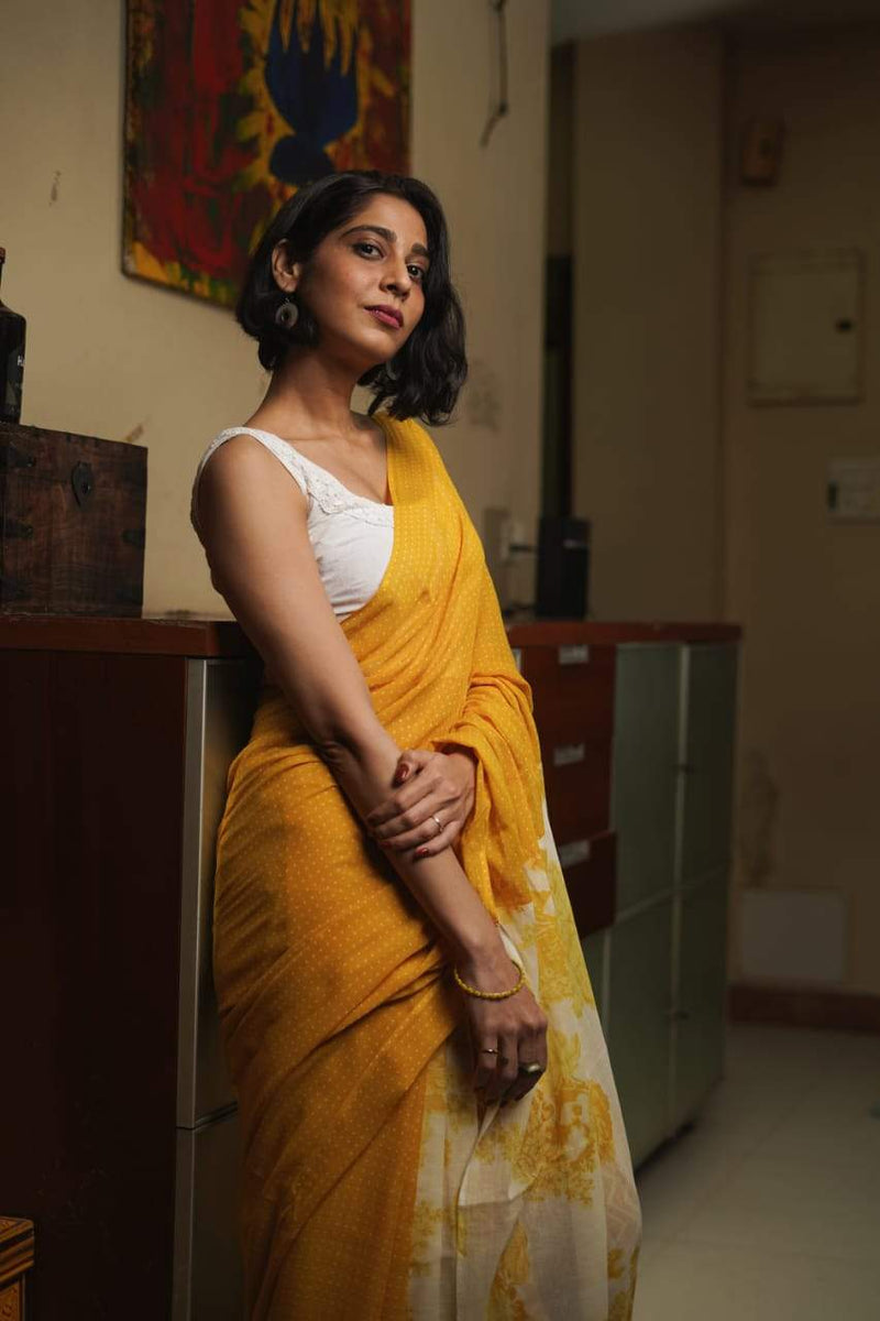 The Ice Cream Saree - Pineapple Orange Cream.