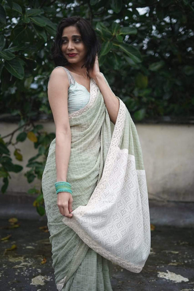 The Lovelace Saree - Mint and Cream.