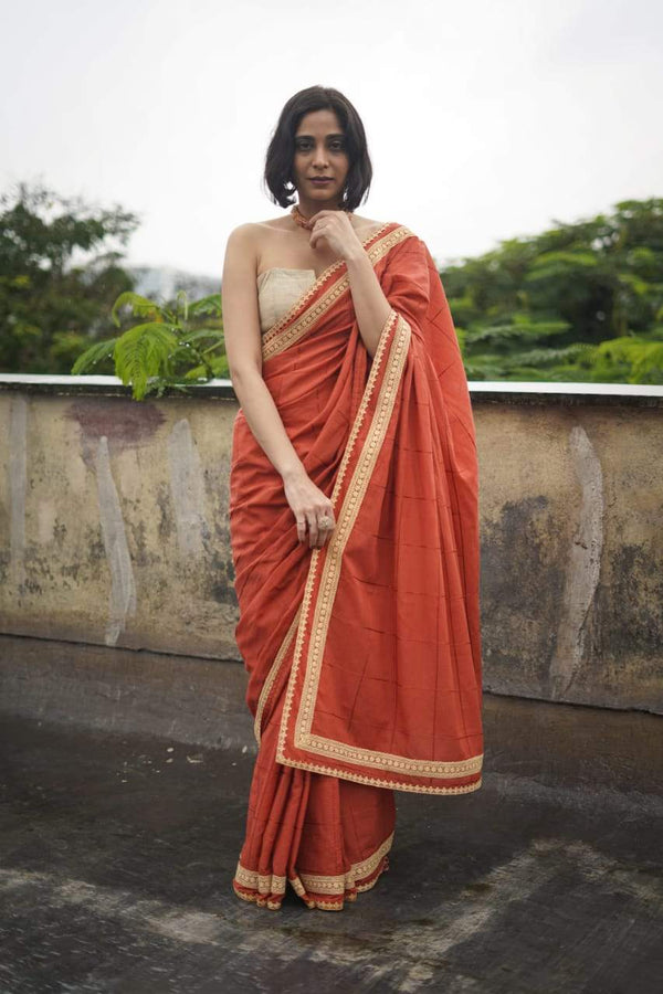 The Lovelace Saree - Brick Red