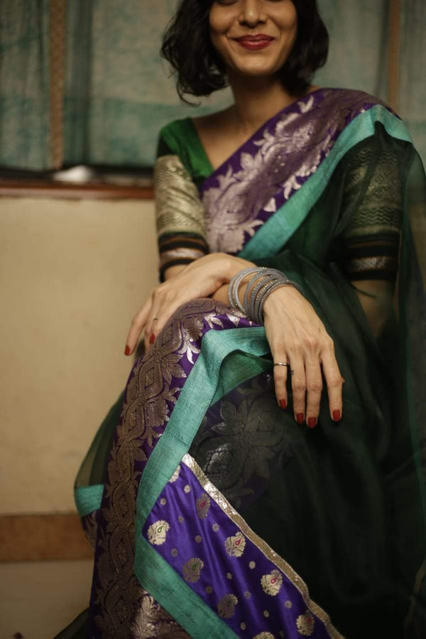 The Nurjehan Saree - Bottle Green/Purple