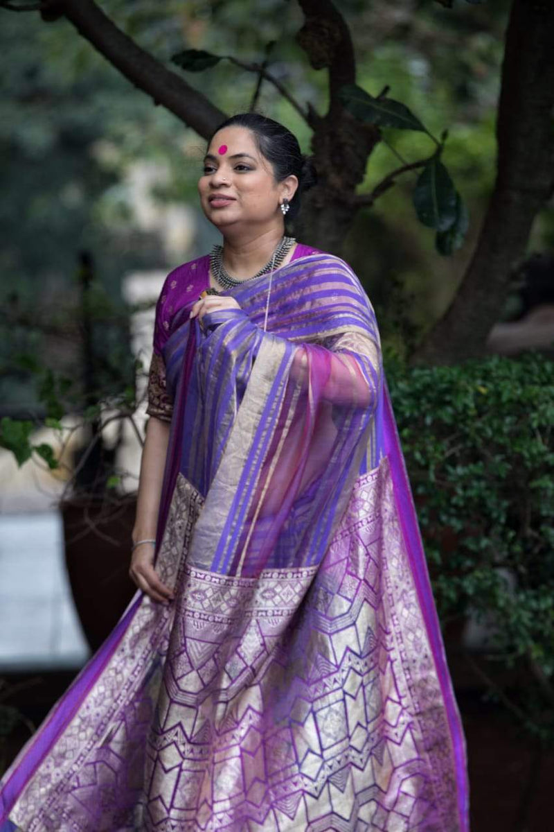 The Nurjehan Saree - Purple/ Mauve/Gold