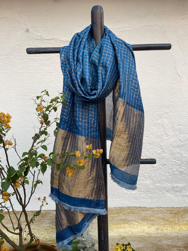 Moroccan Blue Checks Tussar Dupatta
