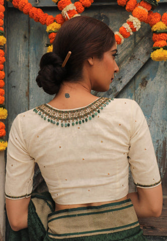 Kora White Green Mumtaz Necklace Blouse