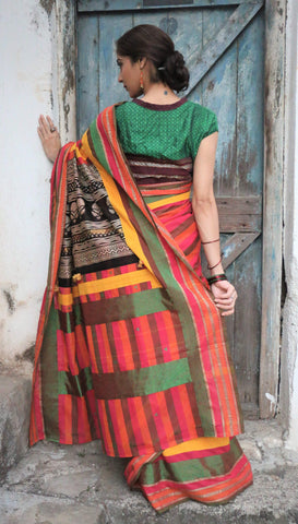 The QoH Kaleidoscope Saree - Pink/Orange/Green