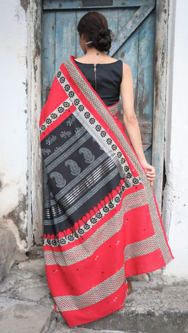 The QoH Kaleidoscope Saree - Red/Black