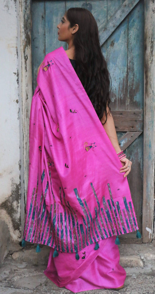 Fuchsia Pink Cat Saree (Tussar Silk)