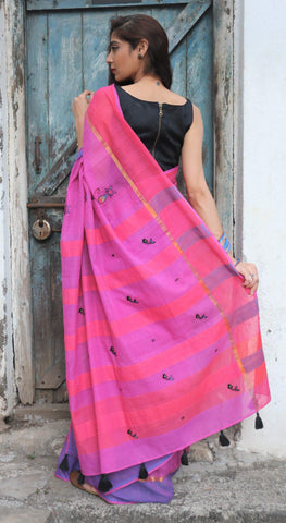 Magenta Pink Blue Cat Saree (Handloom Cotton)
