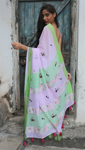 Carnation Pink Green Cat Saree (Handloom Cotton)