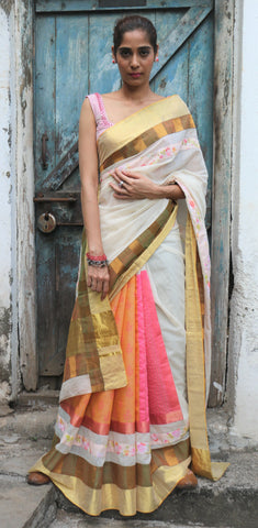 The QoH Kaleidoscope Saree - Kora White/Pink
