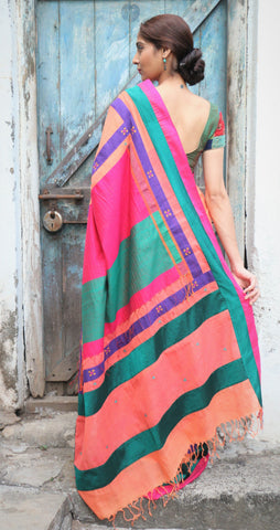 The QoH Kaleidoscope Saree - Peachy Orange/Pink
