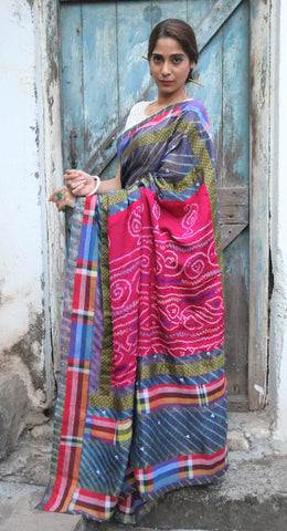 The QoH Kaleidoscope Saree - Indigo Blue Leheriya
