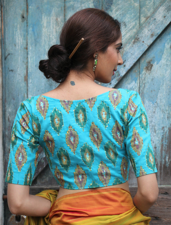 Shades of Peacock Blue Sitara Blouse