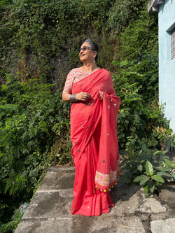 The Malika saree - Bright coral