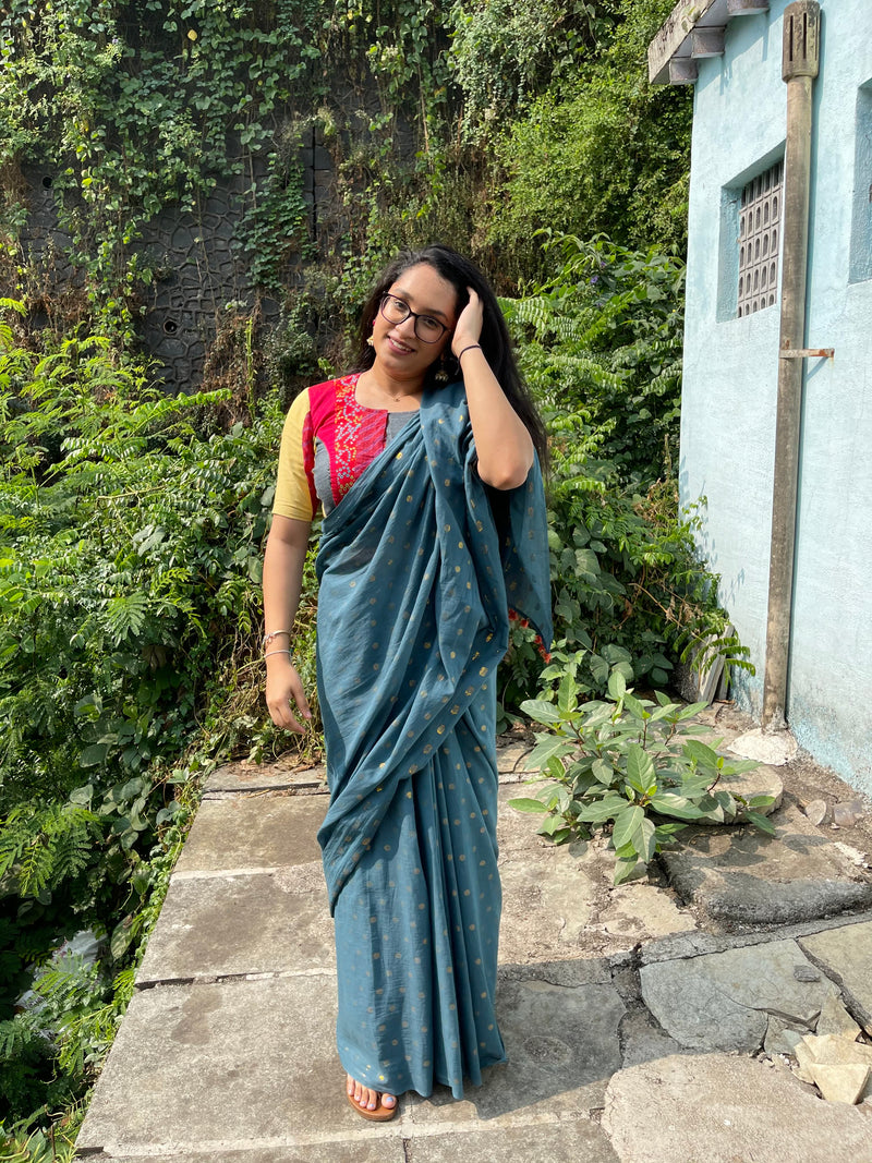 The Zari Butta Saree - Denim Blue
