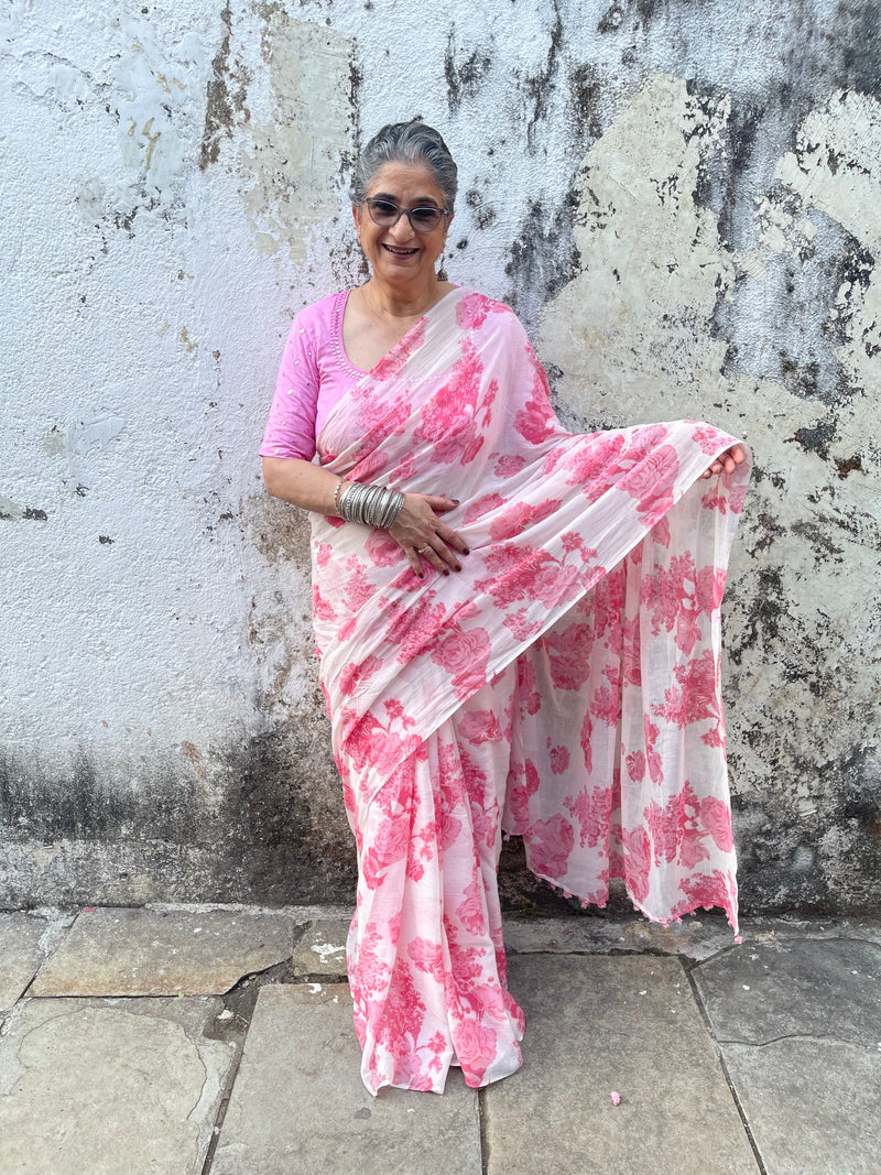 The Flower Power saree - White Pink