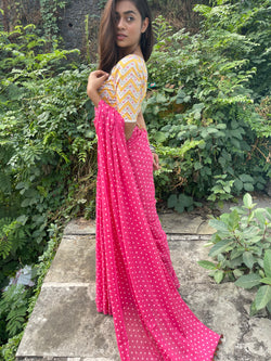 The Polka dot saree - Hot pink