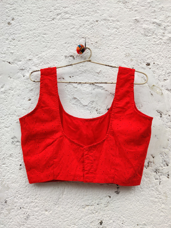 Gulshan Sleeveless Blouse - Fire Engine Red