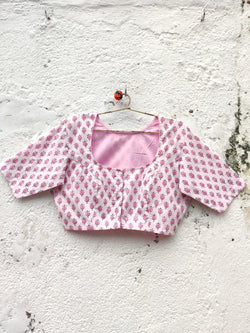 The QoH Matka Neck Blouse - White and Pink