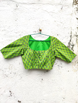 The QoH Matka Neck Blouse - Parrot Green