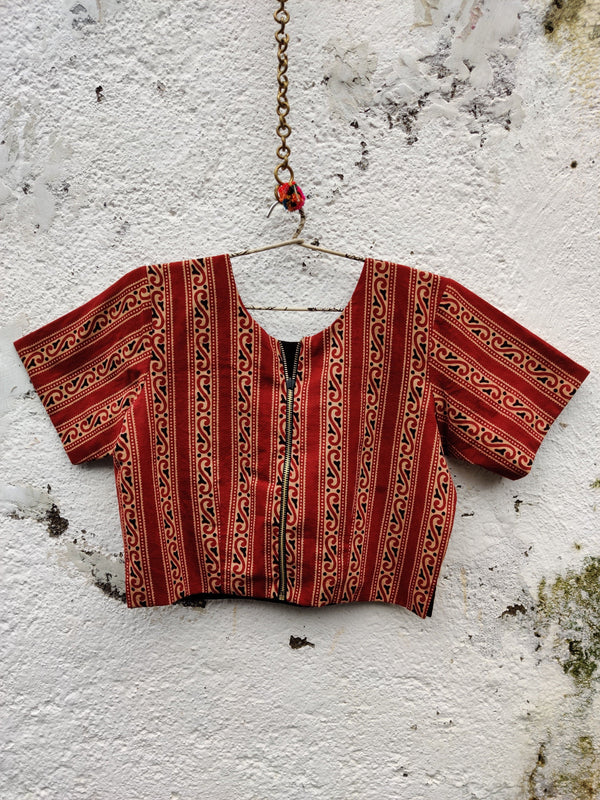 4 Way Reversible Jacket Blouse - Brick Red/Black