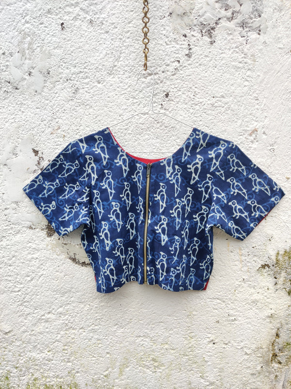 4 Way Reversible Jacket Blouse - Indigo/Cherry Red