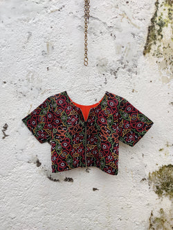 4 Way Reversible Jacket Blouse - Black/Orange