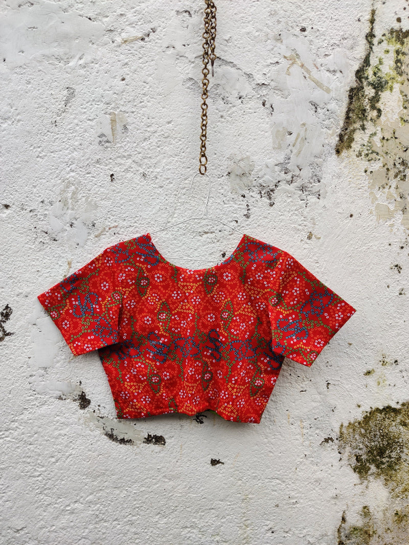 4 Way Reversible Jacket Blouse - Red/Green