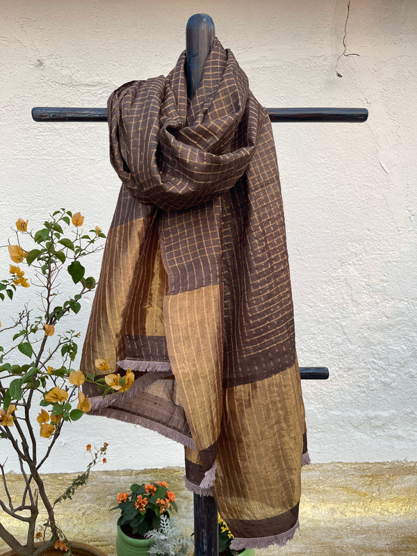 Mocha Brown Checks Tussar Dupatta