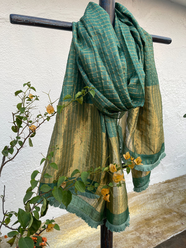 Sea Turtle Green Checks Tussar Dupatta