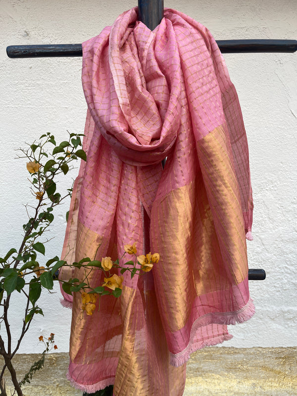 Bubble Gum Pink Checks Tussar Dupatta