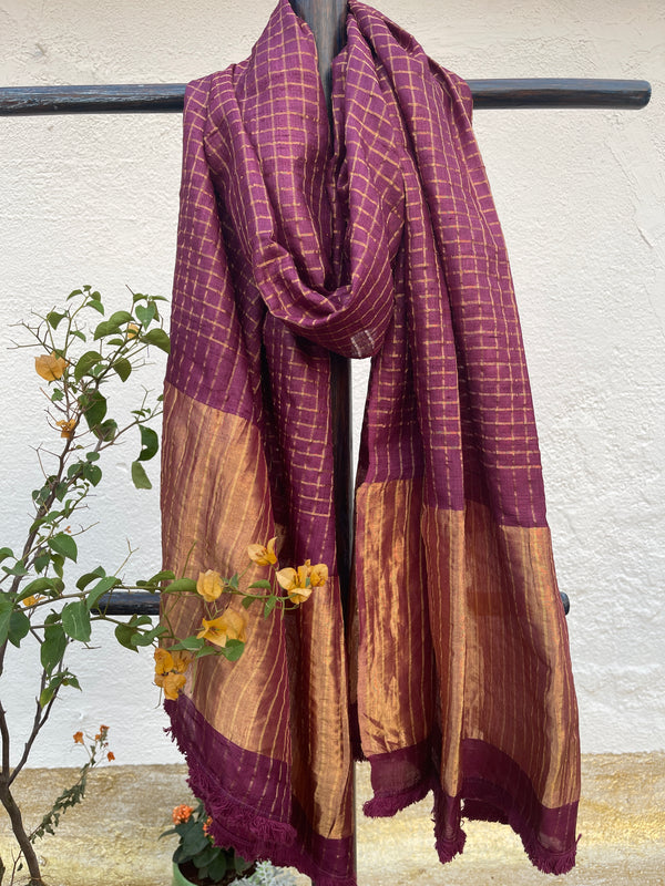 Plum Checks Tussar Dupatta