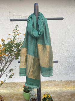 Sea Turtle Green Plain Tussar Dupatta