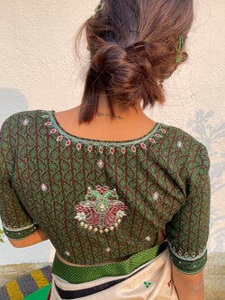 The GandaBerunda Blouse - Green and Brown